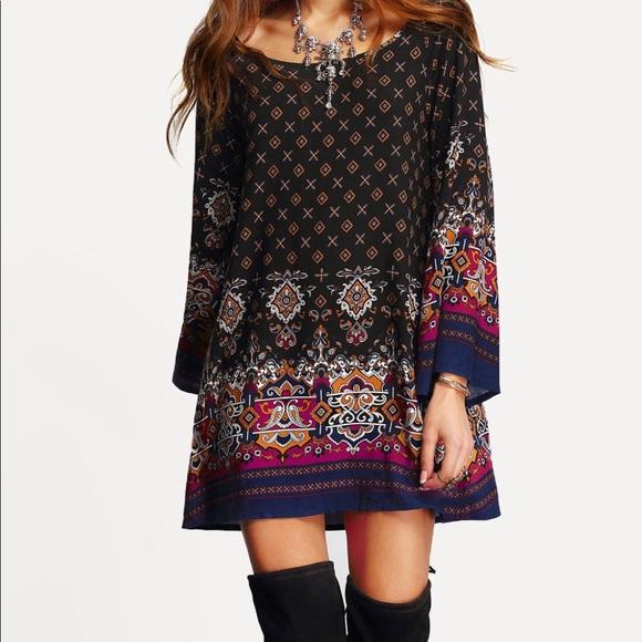 da0f327c58 SHEIN Dresses | Scoop Neck Bell Sleeve Shift Dress | Poshmark
